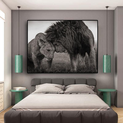 Head to Head Black and White Lions Scandinavian Canvas Wall Art - Canvas Insider™️