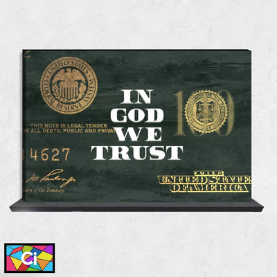 In God We Trust Dollar Bill Motivational Canvas Wall Art - Canvas Insider™️
