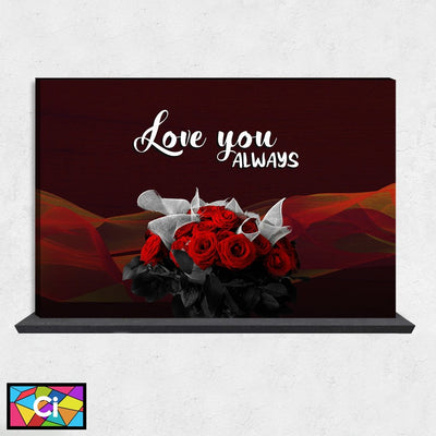 Love You Always Red Roses Themed Canvas Wall Art - Canvas Insider™️