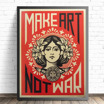 Make Art Not War Framed Canvas Wall Art - Canvas Insider