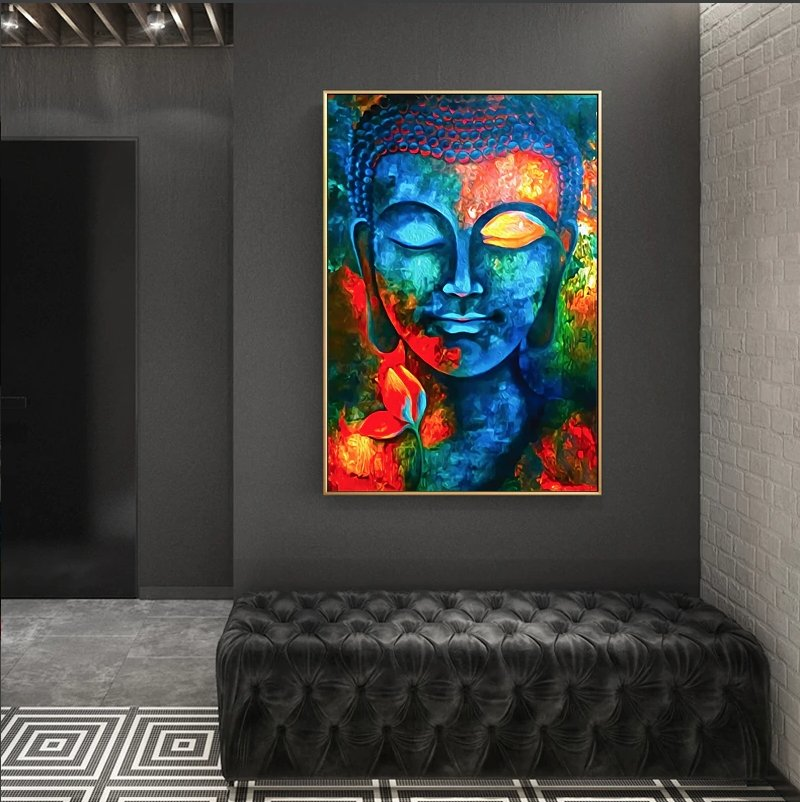 Modern Buddhism At Peace Colourful Abstract Canvas Wall Art - Canvas Insider™️