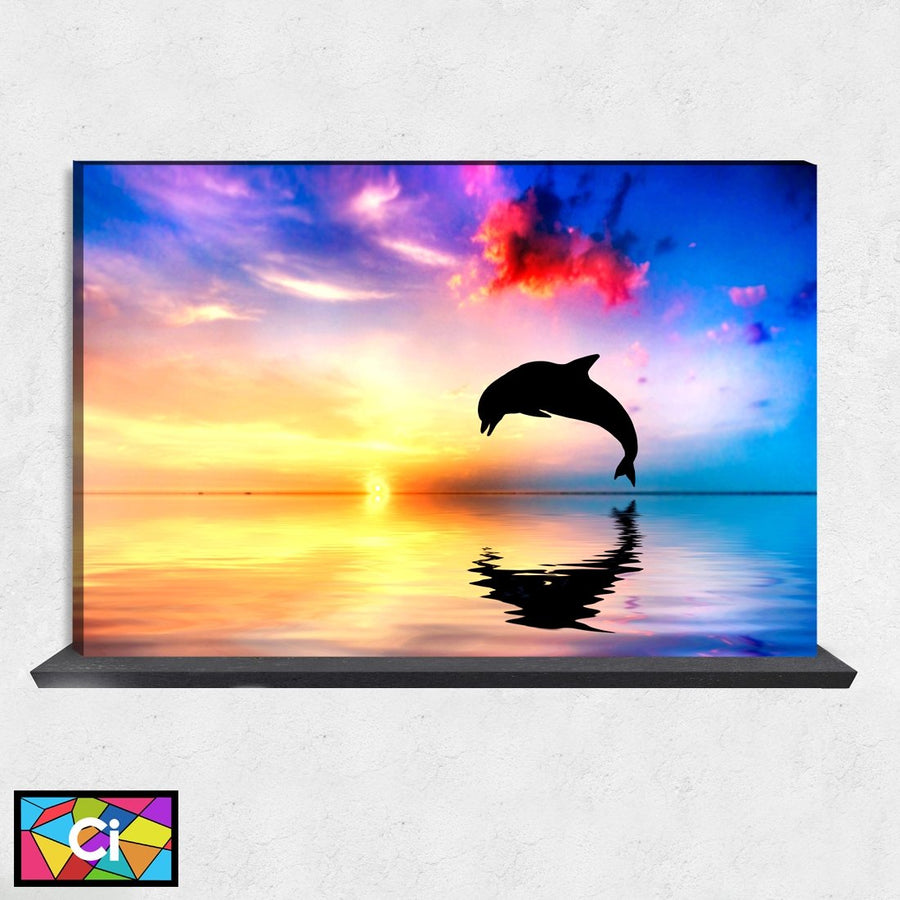 Perfect Sunset and Dolphin Canvas Wall Art - Canvas Insider™️