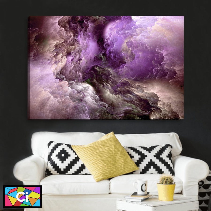 Purple Clouds Of Light Abstract Canvas Wall Art - Canvas Insider™️