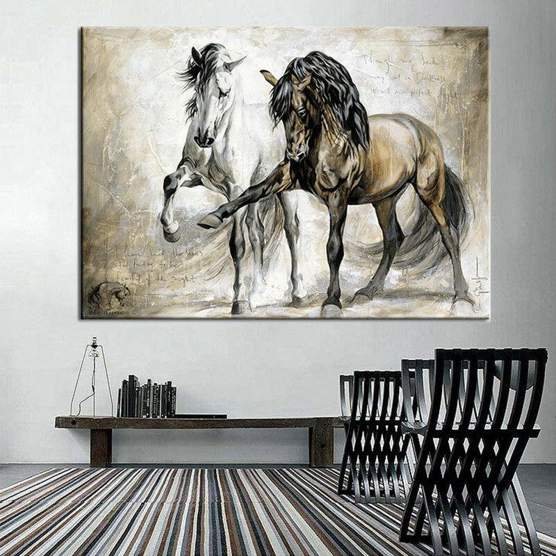 Retro Running Horses Wildlife Painting On Canvas - Canvas Insider™️