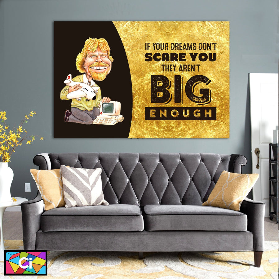 Richard Branson on Dreams Success Canvas Wall Art - Canvas Insider™️