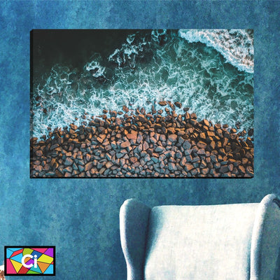 Rocky Seashore Canvas Wall Art - Canvas Insider™️