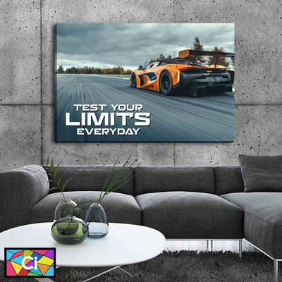 Test Your Limits Everyday Orange Sports Car Canvas Wall Art - Canvas Insider™️