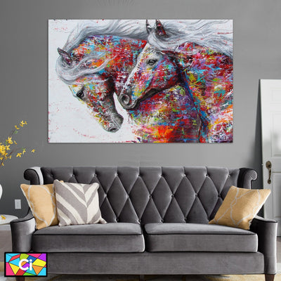The Galloping Horses Wildlife Painting On Canvas - Canvas Insider™️