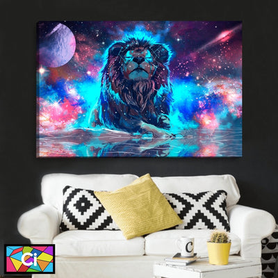 The Lion, King of Space Abstract Canvas Wall Art - Canvas Insider™️