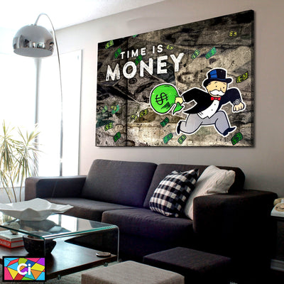 Time Is Money Monopoly Success Canvas Wall Art - Canvas Insider™️