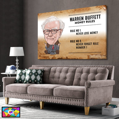 Warren Buffett's 2 Rules For Money Success Canvas Wall Art - Canvas Insider™️