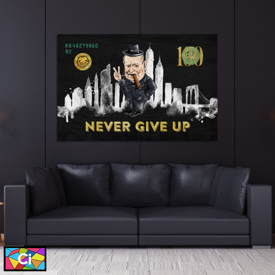 Winston Churchill NEVER GIVE UP Artistic Success Canvas Wall Art - Canvas Insider™️