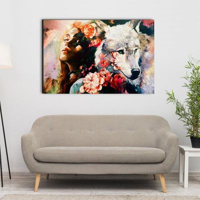Wolf And Female Canvas Wall Art - Canvas Insider™️