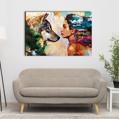 Wolf And Female Spiritual Canvas Wall Art - Canvas Insider™️
