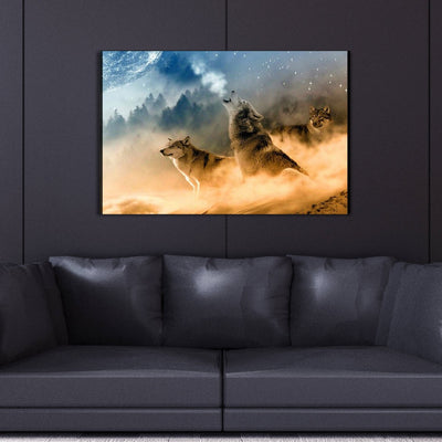 Wolves Howling Canvas Wall Art - Canvas Insider™️