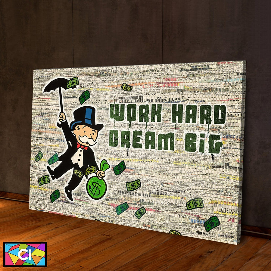 Work Hard Dream Big Success Canvas Wall Art - Canvas Insider™️