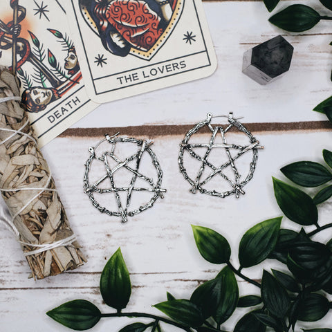 Pentagram Hoop Earrings