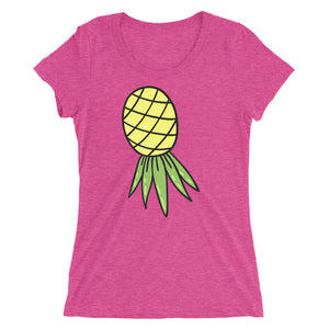 Upside Down Pineapple Graphic Swingers Lifestyle Ladies' short sleeve t-shirt - Cuck and Bull Shop