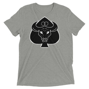 Black Bull with Queen of Spades Wedding Rings Mens Short Sleeve T-Shirt