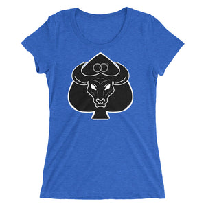 Queen of Spades With Black Bull Wedding Rings Ladies' Short Sleeve T-Shirt