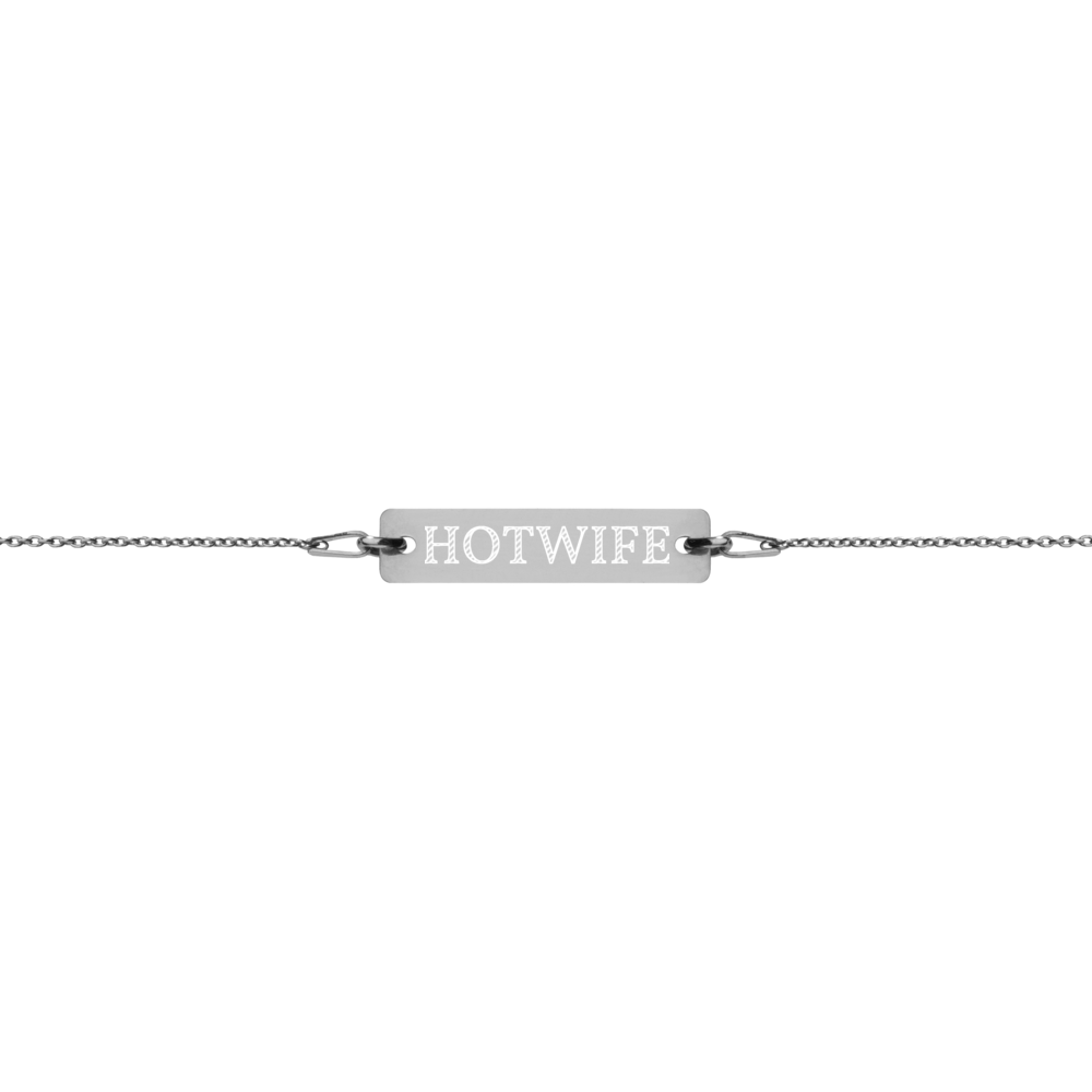 Hotwife Engraved Silver Bar Chain Bracelet