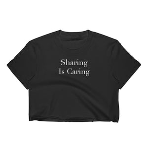 Sharing Is Caring Cuckolding Graphic Womens Short Sleve Cropped Top Shirt - Cuck and Bull Shop