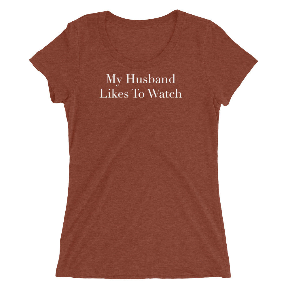My Husband Likes To Watch Ladies' short sleeve t-shirt - Cuck and Bull Shop
