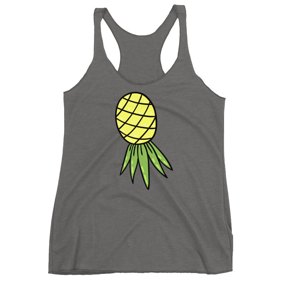 Upside Down Pineapple Swinger Cuckolding Couples Womens Racerback Tank Top
