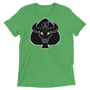 Black Bull with Queen of Spades Sapphire Wedding Rings Mens Short Sleeve T-Shirt