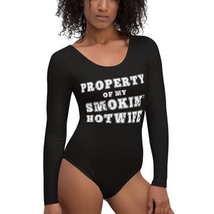 Property of my Smokin' Hotwife Cuckolding Couples Womens Long Sleeved Body Suit