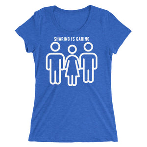 Sharing Is Caring Threesome Cuckolding Graphic Ladies' short sleeve t-shirt - Cuck and Bull Shop