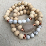 Matte White Howlite & Rose Gold
