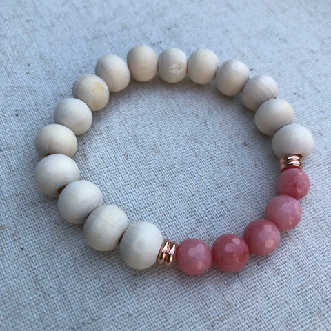 Faceted Coral Pink Mountain Jade & Rose Gold