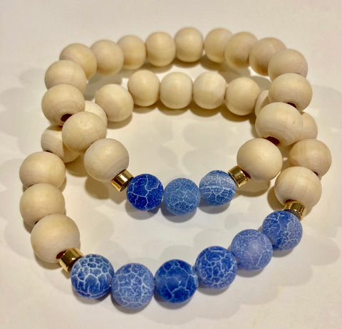 Frosted Blue Agate Set of 2