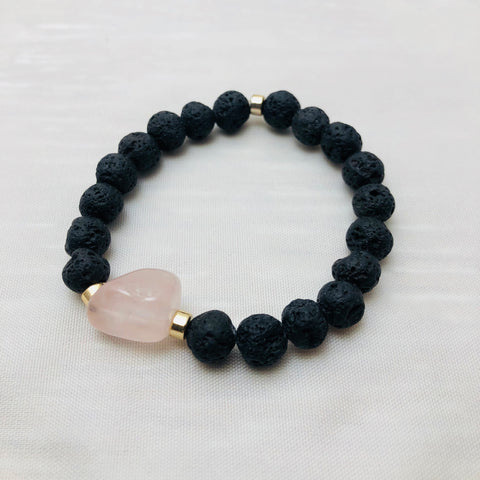 Lava & Rose Quartz Center Stone