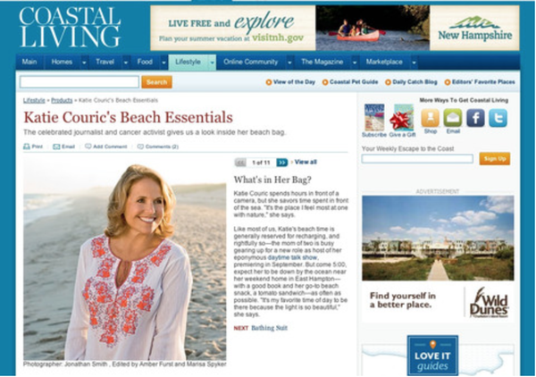 Katie Couric's Beach Essentials in June Issue of Coastal Living.