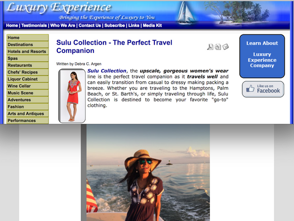Sulu Collection Featured on Luxury Experience Blog