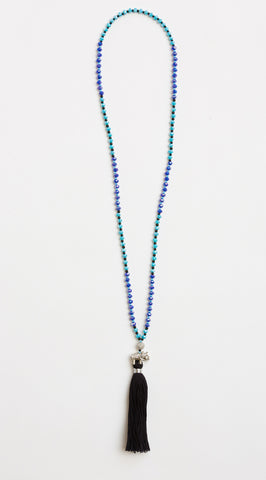 Dream Blue Spirit Elephant Mala with Black Tassel