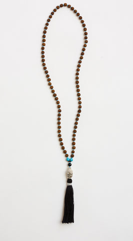 Love & Peace Buddha Mala with Black Tassel