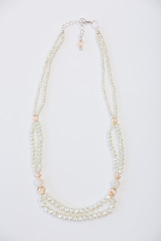 Shell Pearl Agate Necklace with Beige Swarovski