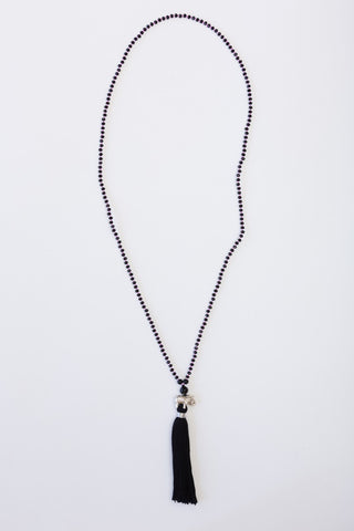 Black Spirit Elephant Mala with Black Tassel