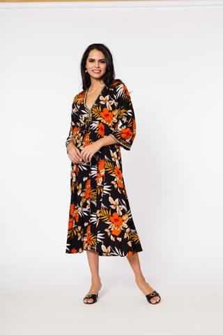Natasha Midi Dress (3/4 sleeve)