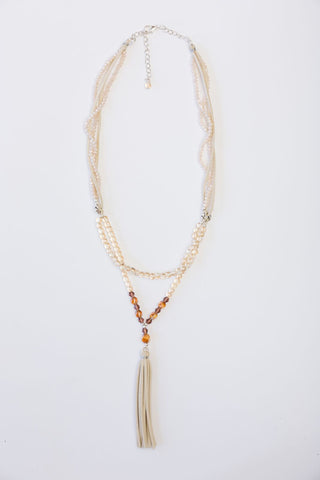Boho Necklace - Cream & Copper Crystals with Suede Tassel
