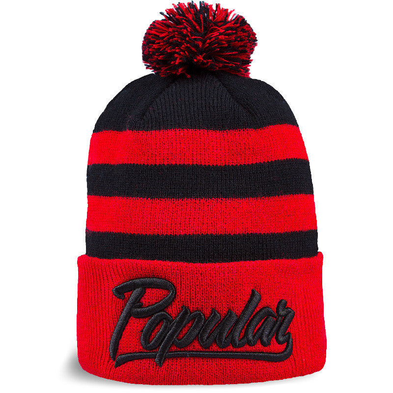 Beanie STRIPES (Negro/Rojo) - Purple Drank Shop