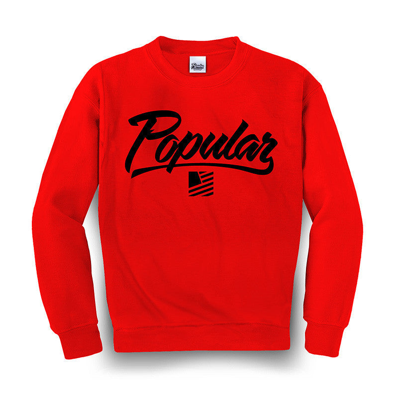 Crewneck POPULAR SCRIPT (Rojo) - Purple Drank Shop
