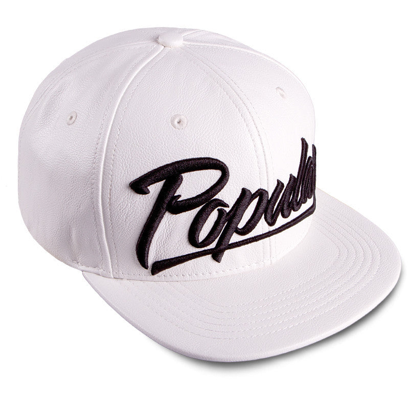 Strapback LEATHER POPULAR SCRIPT (Blanco) - Purple Drank Shop