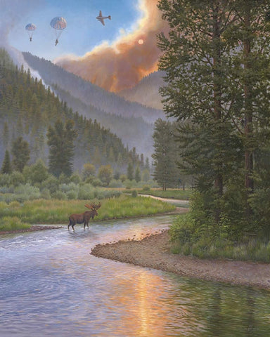 Smokejumping - Red Skies Over Rock Creek-Artist Proof