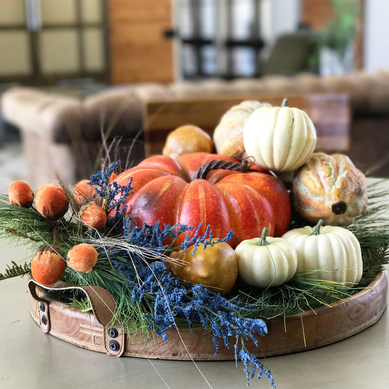 Periwinkle Navy & Vivid Orange, a New Twist on Autumn decor, Guest Contributor Kristina Leigh