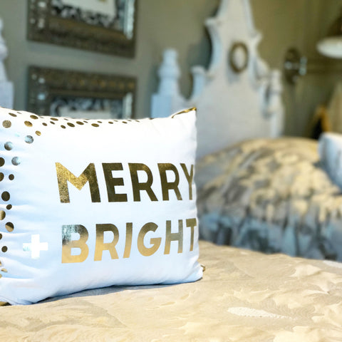 Merry Bright metallic gold pillow!