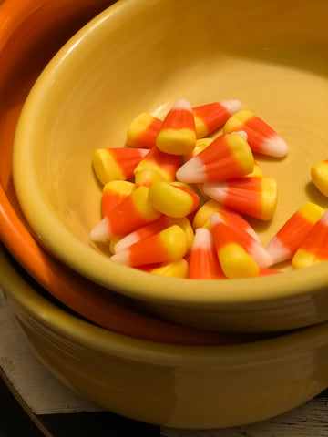 Candy Corn in Yellow Fiesta Bowl